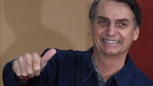 Jair Bolsonero est arrivé en tête du premier tour de l'élection présidentielle brésilienne, le 7 octobre. (MAURO PIMENTEL / AFP)