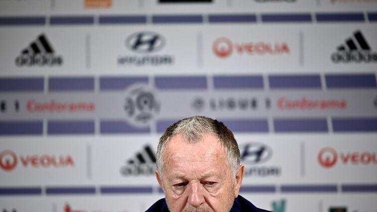 Jean-Michel Aulas, le 13 février 2020, àDecines-Charpieu, près de Lyon. (JEFF PACHOUD / AFP)