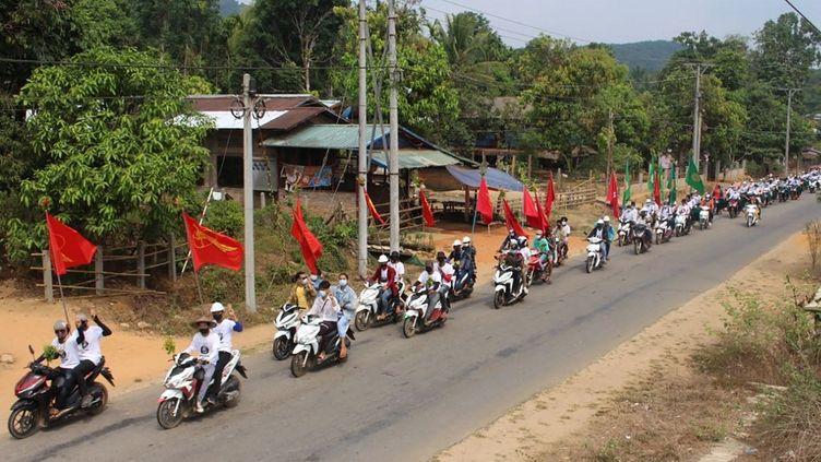 Une manifestation en moto d'opposants au coup d'état, le 31 mars 2021. (HANDOUT / DAWEI WATCH)