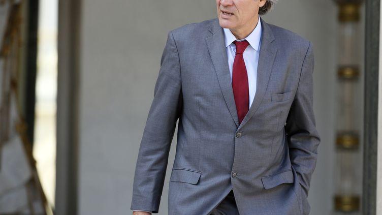 Le ministre de l'Agriculture, Stéphane Le Foll, quitte l'Elysée, le 10 septembre 2014. (PATRICK KOVARIK / AFP)