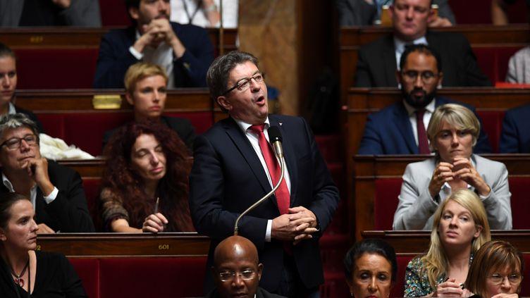Le leader de La France Insoumise Jean-Luc Mélenchon,à l'Assembolée nationale, le 3 octobre2017 (CHRISTOPHE ARCHAMBAULT / AFP)