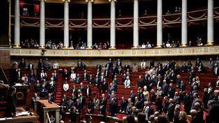 Les députés ont observé une minute de silence en mémoire des victimes de l'attaque commise à la préfecture de police de Paris, mardi 8 octobre 2019, à l'Assemblée nationale. (PHILIPPE LOPEZ / AFP)