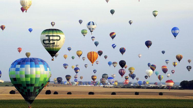 Des montgolfières dans le ciel de Chambley-Bussières (Meurthe-et-Moselle), à l'occasion de la 13e édition du Lorraine Mondial Air Ballons, le 27 juillet 2013. (ALEXANDRE MARCHI / AFP)