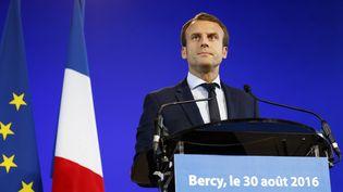 Conférence de presse d'Emmanuel Macron à Bercy, le 30 août 2016 (MATTHIEU ALEXANDRE / AFP)