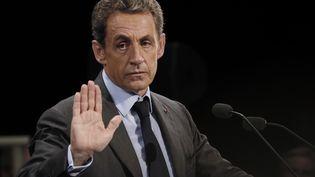 L'ancien président de la République Nicolas Sarkozy lors d'un meeting, le 12 septembre 2016, à Provins (Seine-et-Marne). (THOMAS SAMSON / AFP)