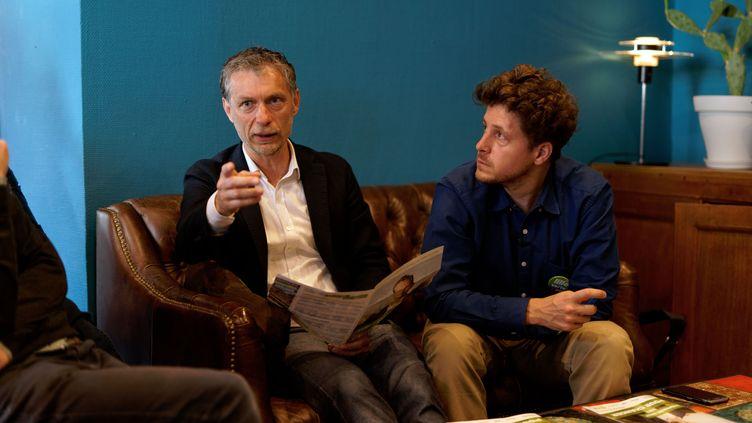Stéphane Baly et Julien Bayou lors d'une conférence de presse, le 21 juin 2020, à Lille. (SYLVAIN LEFEVRE / HANS LUCAS / AFP)