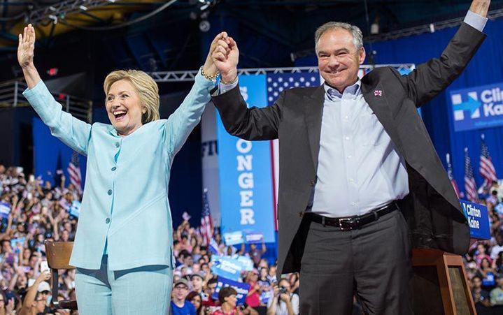 Hillary Clinton avec Tim Kaine (Capture écran du site de campagne de Clnton)