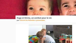 Le site de l'association pour récolter les dons pour sauver Hugo et Emma. (CAPTURE D'ÉCRAN HELLOASSO / FRANCEINFO / RADIO FRANCE)