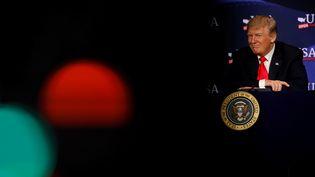 Donald Trump, le 5 mai 2018, à Cleveland (Ohio, Etats-Unis). (AARON BERNSTEIN / REUTERS)