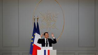 Le président de la République Emmanuel Macron lors de laConférence nationale sur le handicap, à l'Elysée, le 11 février 2020. (GONZALO FUENTES / REUTERS)