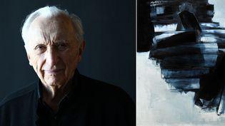 """Pierre Soulages et son tableau """"Peinture, 162 x 130 cm, 14 avril 1962""""  (A gauche © Alain Robert / Aperçu / SIPA - A droite © Sotheby's / Art digital studio)"""
