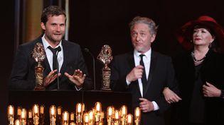 L'auteur et metteur en scène Alexis Michalik a triomphé durant la 29e nuit des Molières.  (CHRISTOPHE ARCHAMBAULT / AFP)