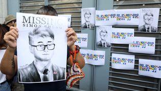 Manifestation devant le consulat britannique à Hong Kong, le 21 août 2019, pour la libération de Simon Cheng, un employé consulaire chinois arrêté en Chine. (EYEPRESS NEWS)