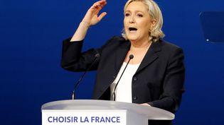 Marine Le Pen lors de son discours à Villepinte (Seine-Saint-Denis), le 1er mai 2017. (CHARLES PLATIAU / REUTERS)