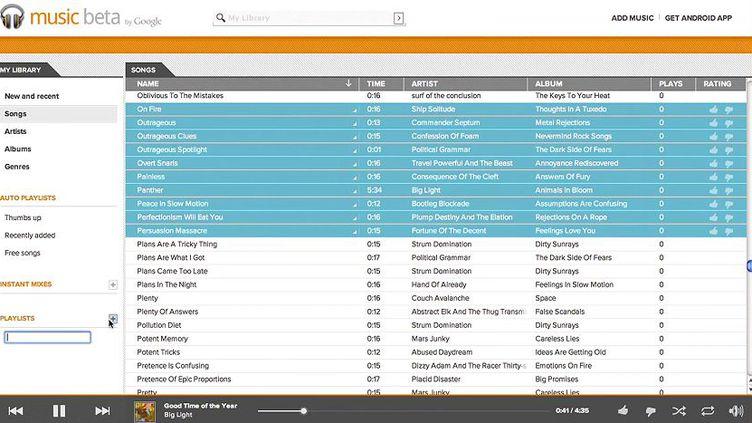 Capture d'écran du lecteur de Google Music, lors de sa version bêta. (Capture d'écran / DR)
