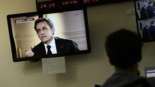 L'ancien président de la République, Nicolas Sarkozy, le 2 juillet 2014 lors de son interview sur TF1 et Europe 1. (STEPHANE DE SAKUTIN / AFP)