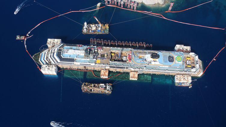 """Le """"Costa Concordia"""" vu du ciel, le 20 juillet 2014, lors des travaux de renflouement du navire. (PROTEZIONE CIVILE ITALIANA / AFP)"""