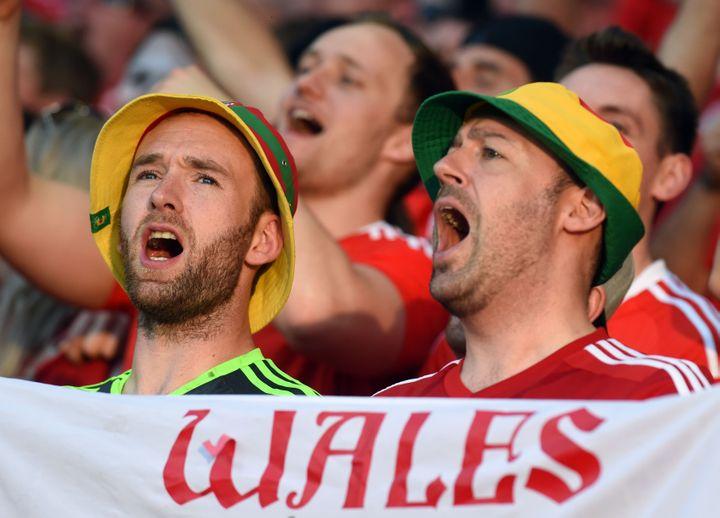 Les supporters gallois ont chanté sans interruption pendant le match. (REMY GABALDA / AFP)