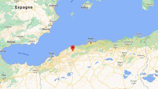 Trois voitures ont été emportées par les eaux d'un oued près de Chlef (Algérie), le 6 mars 2021. (GOOGLE MAPS)