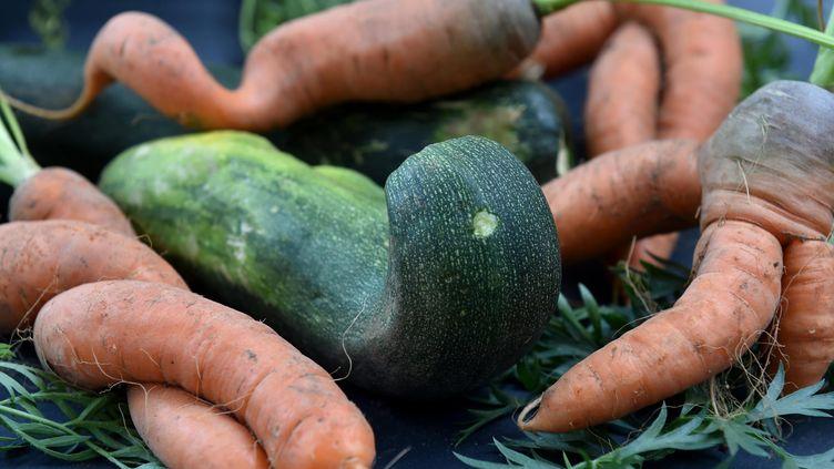 Des carottes et des courgettes aux formes particulières qui ne peuvent être mises en vente. Photo d'illustration. (CLAUDE PRIGENT / MAXPPP)