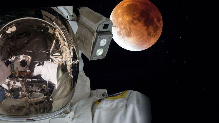 Photomontage d'un astronaute devant la planète Mars. (PATRICK LEFEVRE / MAXPPP)