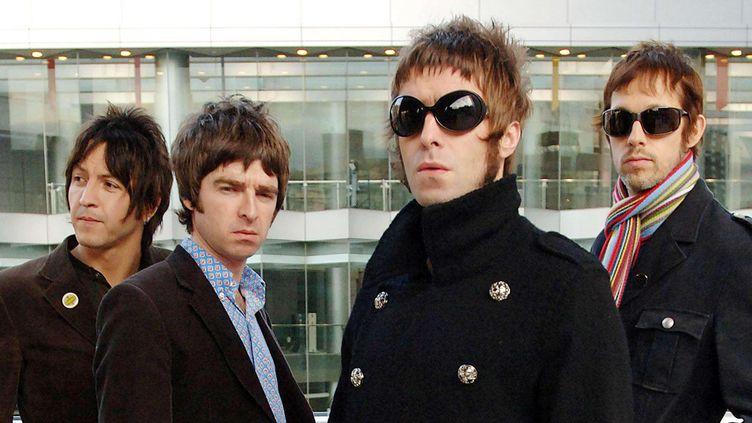 Oasis en 2005 à Londres. De gauche à droite Gem Archer, Noel Gallagher, Liam Gallagher et Andy Bell. (WENN/SIPA / SIPA USA)