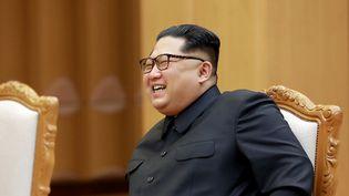 Kim Jong-un, le 3 mai 2018 à Pyongyang (Corée du Nord). (KCNA VIA KNS / AFP)