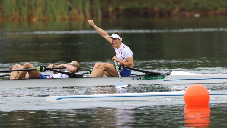 Jérémie Azou et Pierre Houin, deux de couple poids léger,médaillés d'or aux Jeux Olympiques de Rio en 2016 (MAXPPP)