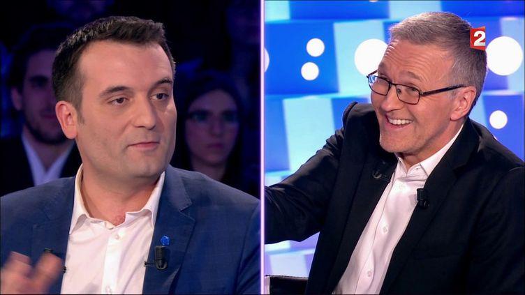 """Florian Philippot, vice-président du Front national, interrogé par l'animateur Laurent Ruquier, dans le cadre de l'émission """"On n'est pas couché"""", diffusée sur France 2 le 18 mars 2017. (FRANCE 2)"""