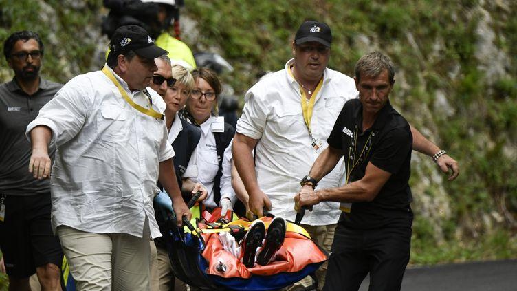 Richie Porte évacué (PHILIPPE LOPEZ / AFP)