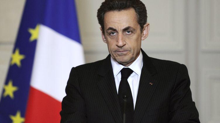 Le président Nicolas Sarkozy s'exprime, le 19 mars 2012, depuis l'Elysée, après la fusillade qui s'est produite dans un collège-lycée juif de Toulouse. (LIONEL BONAVENTURE / AFP)