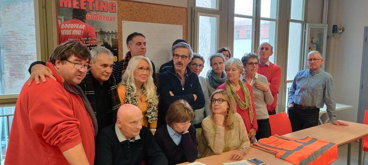 Les associations de victimes d'AZF réunies à la bourse du travail de Toulouse. (Stéphane Iglesis / RADIO FRANCE)