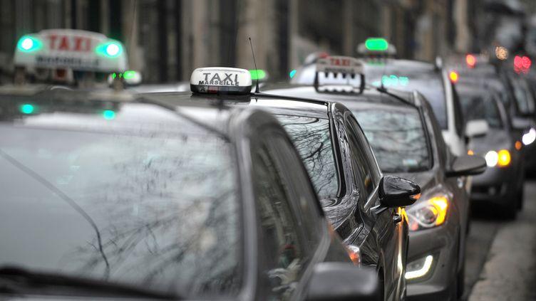 Manifestation des chauffeurs de taxis, le 13 janvier 2014 à Paris. (ANNE-CHRISTINE POUJOULAT / AFP)