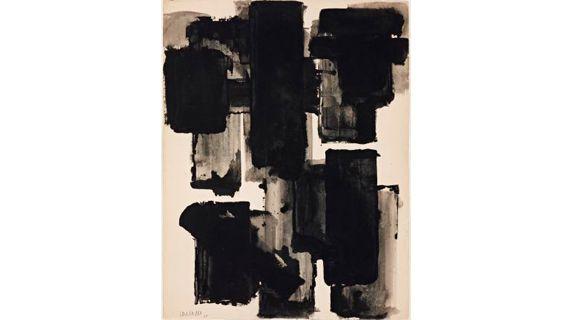 Pierre Soulages (1919),Brou de noix sur papier,1955,65x50 cm. (COPYRIGHT : ADAGP 2011 / FONDATION POUR L'ART, GENÈVE, PHOTOGRAPHIE SANDRA POINTET)