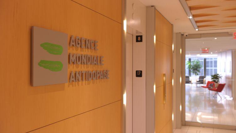 Le logo de l'Agence Mondiale Antidopage (MARC BRAIBANT / AFP)