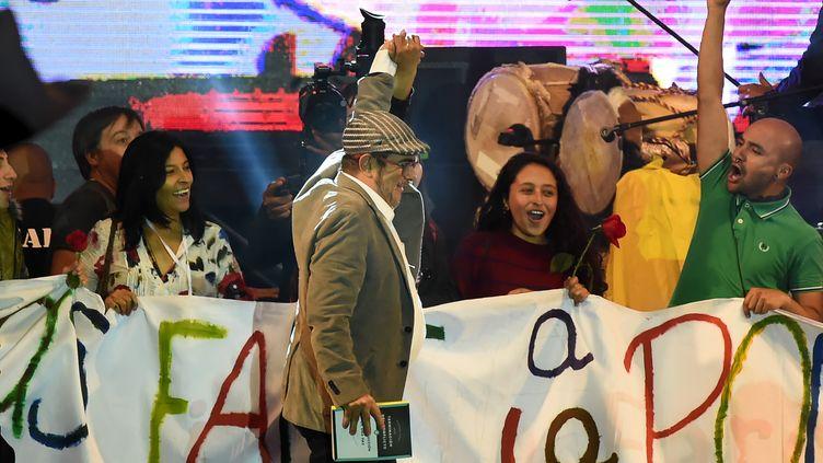 L'ancien chef des Farcs,Rodrigo Londoño, alias Timochenko, le 1er septembre 2017 à Bogota, en Colombie. (RAUL ARBOLEDA / AFP)