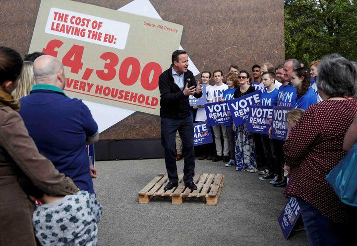 Le Premier ministre britannique, David Cameron, s'exprime lors d'un meeting en faveur du maintien du Royaume-Uni au sein de l'UE, le 14 mai 2016, dans une école de Witney (Royaume-Uni). (EDDIE KEOGH / REUTERS)