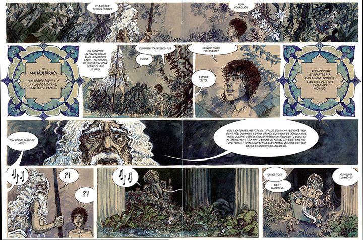 une double page du Mahâbhârata (Éditions Hohzonie)