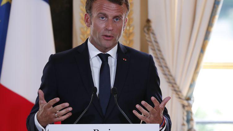 Emmanuel Macron à l'Elysée, le 22 juillet 2019. (IAN LANGSDON / AFP)