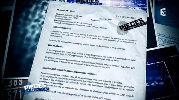 """Rapport d'un agent du Service pénitentiaire d'insertion et de probationde Saint-Sulpice-la-Pointe (Tarn) concernant Mohamed Merah, diffusé dans l'émission """"Pièces à conviction"""" sur France 3, le 6 mars 2013. (FRANCE 3 )"""