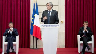 Le ministre de l'Agriculture Stéphane Le Foll lors de la présentation du plan d'urgence pour les éleveurs, le 22 juillet 2015 à l'Elysée, à Paris. (  REUTERS)