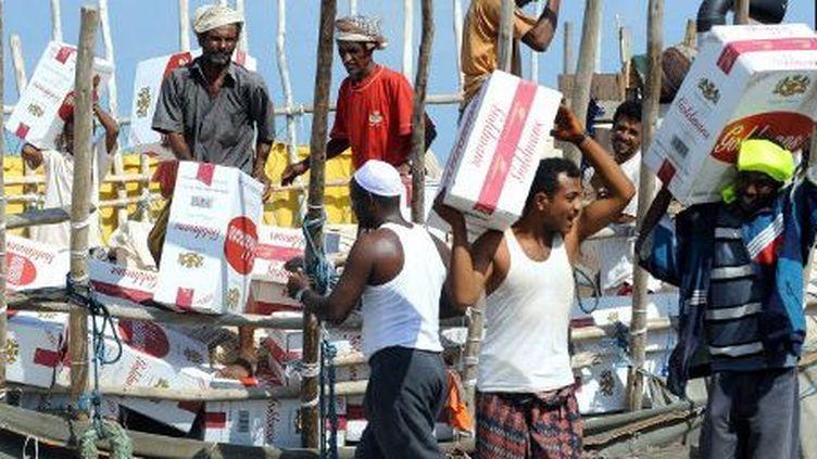 Des dockers en train de décharger un cargo dans le port de Djibouti le 30 novembre 2011. Un port qui est l'unique débouché maritime de l'Ethiopie, deuxième pays le plus peuplé d'Afrique et qui connaît une croissance proche de 10%. (AFP - Eric Cabanis)