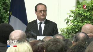 François Hollande fait un discours depuis le siècge du Parti socialiste, à Paris, après la passation de pouvoirs le 14 mai 2017. (FRANCE 2)