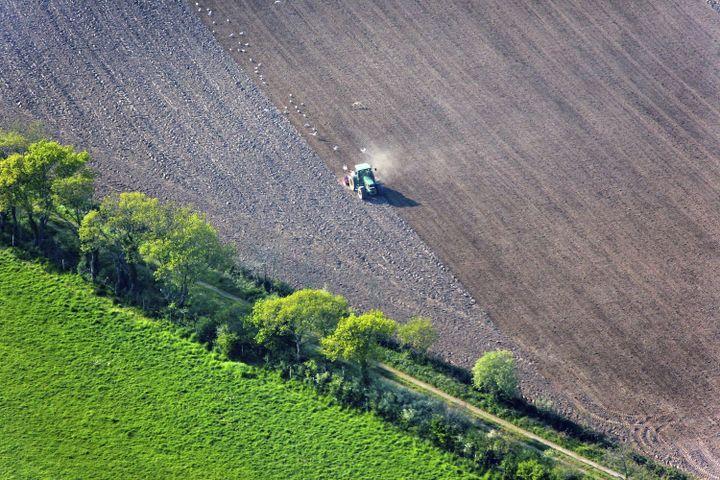 Un tracteur laboureun champs à Guérande (Loire-Atlantique),en octobre 2013. (MAXPPP)