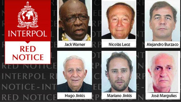 """(Six """"notices rouges"""" émises par Interpol à l'encontre notamment de Jack Warner et Nicolas Leoz @capture d'écran/Interpol)"""