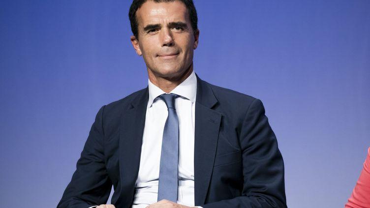 Sandro Gozi, ancien ministre italien des Affaires européennes et président de l'Union des fédéralistes européens, le 20 octobre 2018 à Issy-les-Moulineaux, lors d'un colloque LREM. (VINCENT ISORE / MAXPPP)