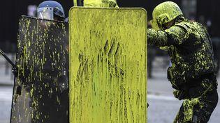 Des CRS sont couverts de peinture jaune, aux abords des Champs-Elysées, le 1er décembre 2018. (ALAIN JOCARD / AFP)