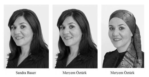 Photos extraites de l'étude menée par l'IZA sur la discrimination envers les femmes portant le voile et un nom turc. (IZA)