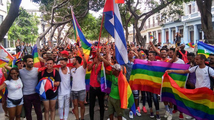 Une manifestation organisée par des associations cubaines de défense des droits des personnes LGBT le 11 mai 2019 dans les rues de La Havane(Cuba). (GUILLERMO NOVA / DPA / AFP)