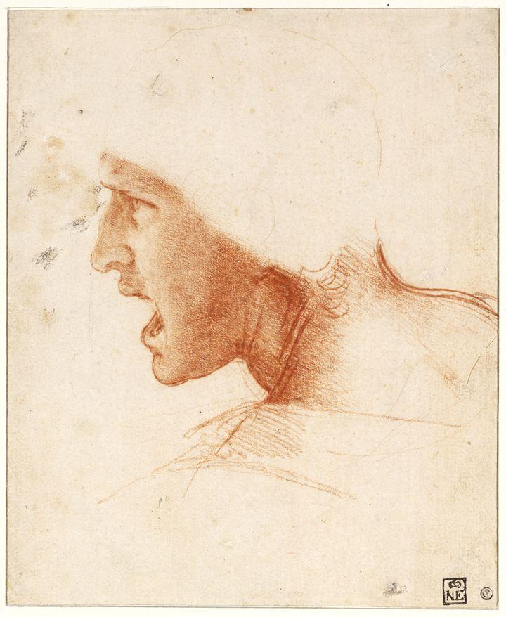 Léonard de Vinci, Étude de figure pour la Bataille d'Anghiari (Szépművészeti Múzeum - Budapest Museum of Fine Arts 2019)